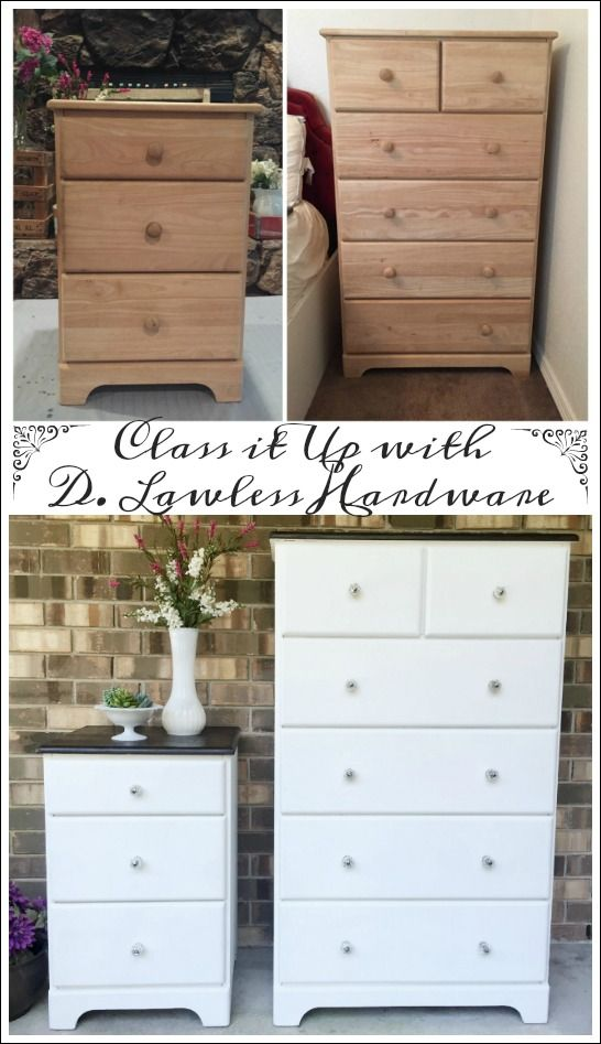Another Classy Furniture Makeover- Unfinished Wood Dresser & Nightstand