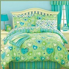 Lime and aqua, Beauty  http://www.bedroom-decorating-ideas-and-designs.com/lime-green-and-aqua-bedding.html