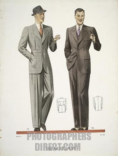 Fashion , 20th century . Mens clothing , 1938 . stock photo 30s 40s suit jacket pants hat