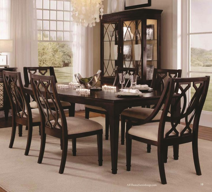 Intrigue Rectangular Dining Table With 2 Arm Chairs & 4
