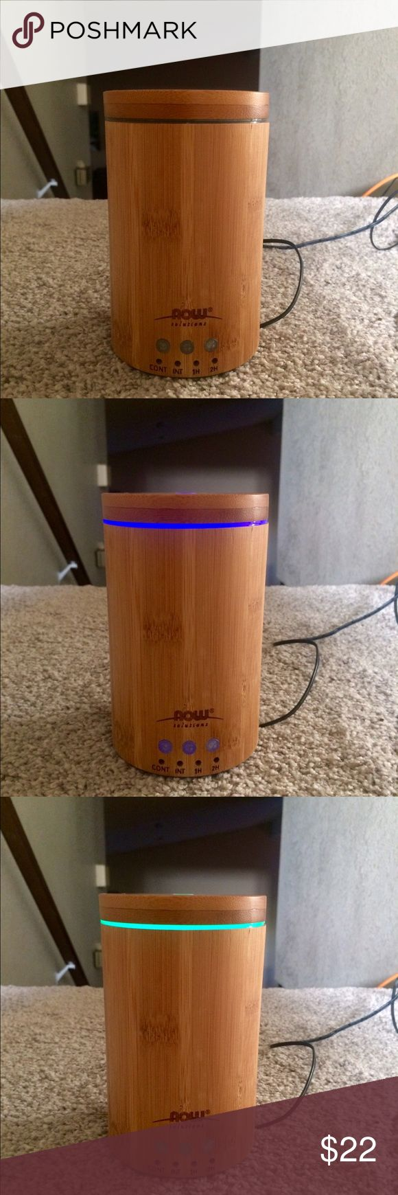 Essential Oil Diffuser 🔮 Now solutions 'bamboo' essential oil diffuser!  Has an auto shut off after 12 hours and 4 settings: Continuous, intermittent, 1 hr & 2 hour. EUC with box & instructions. Can use w/or w/out colored light feature (5 colors) only parting with it because I received a new one for X-mas. Bought at Van's Health foods, used for less than a year. Now Solutions Other