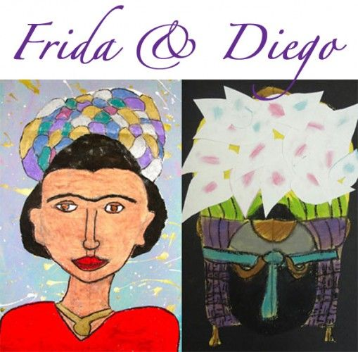 Frida-and-Diego   a lesson based on symmetry, Frida's Portraits and Diego's symmetrical flower venders.