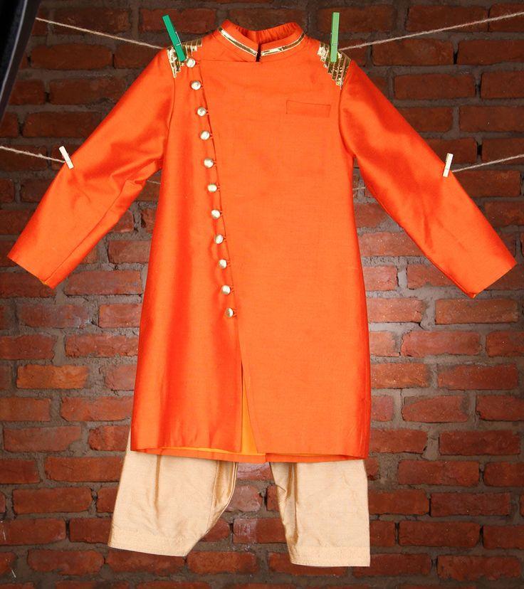 Orange Cotton Silk #Sherwani #Kidology #Indianroots
