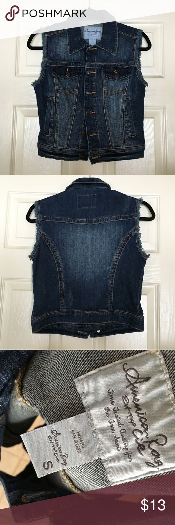 American Rag Jean Vest Only Worn Once! This cute vest would accessorize any outfit! It's perfect wash complements all colors and can be worn with any pant! Says sml but can fit xs and some med Let me know if you have any questions or offers:) American Rag Jackets & Coats Jean Jackets