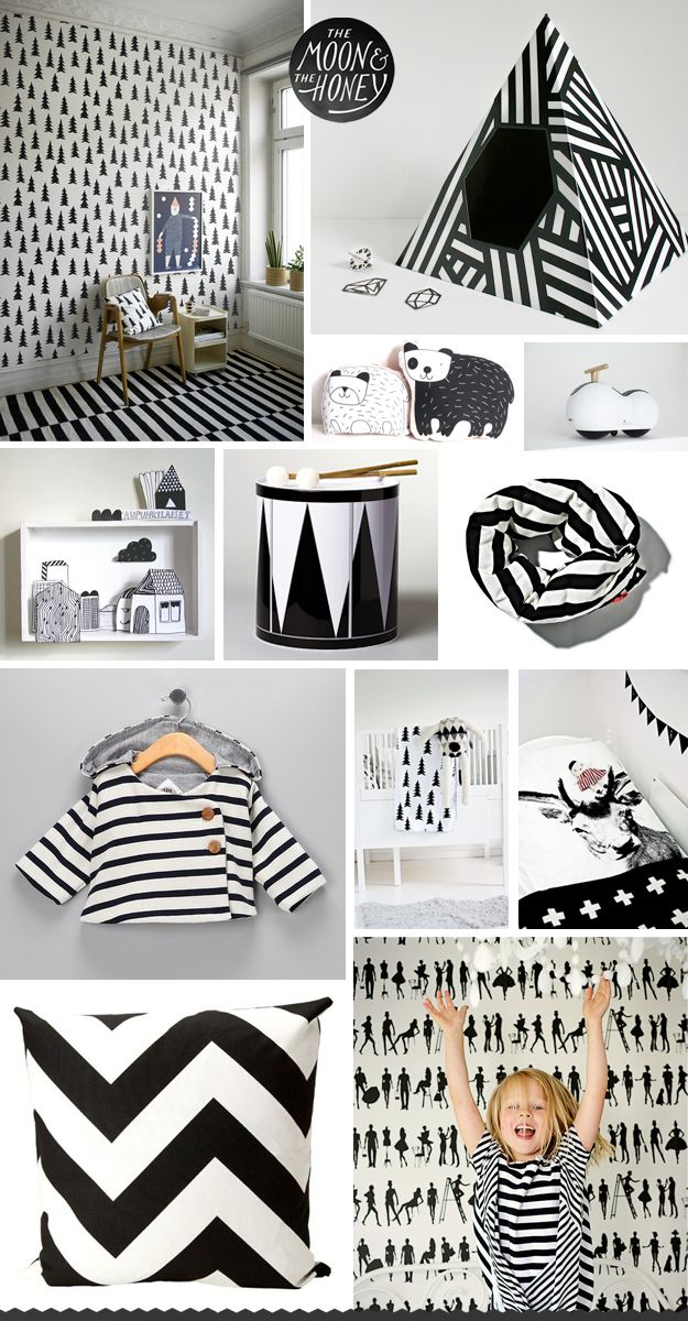 The Moon & The Honey, black and white kids room, chevron, stripes,