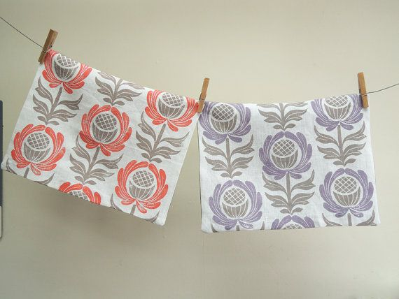 Lavender, Swedish Blue or Coral and Taupe Folk Art Floral on white hand block  printed linen home decor pillow case