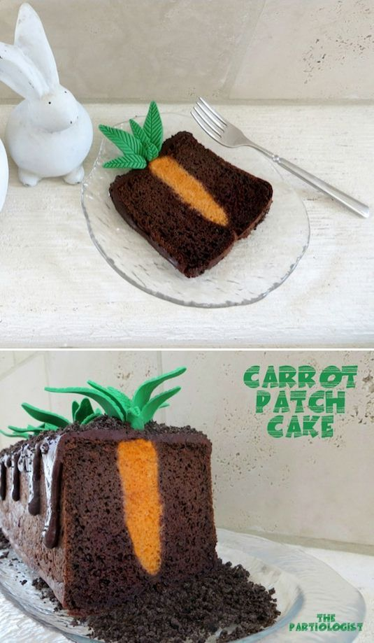 Carrot Patch Cake, How Cute is That!  Love this chocolately Easter cake, with Oreo cookie crumbles. Plus 30 More Surprise-Inside Cake and Treat Ideas!!