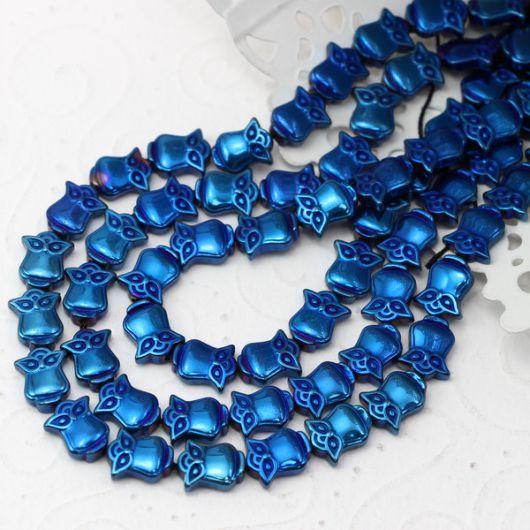 Hematyt kobaltowy sówka  10mm
