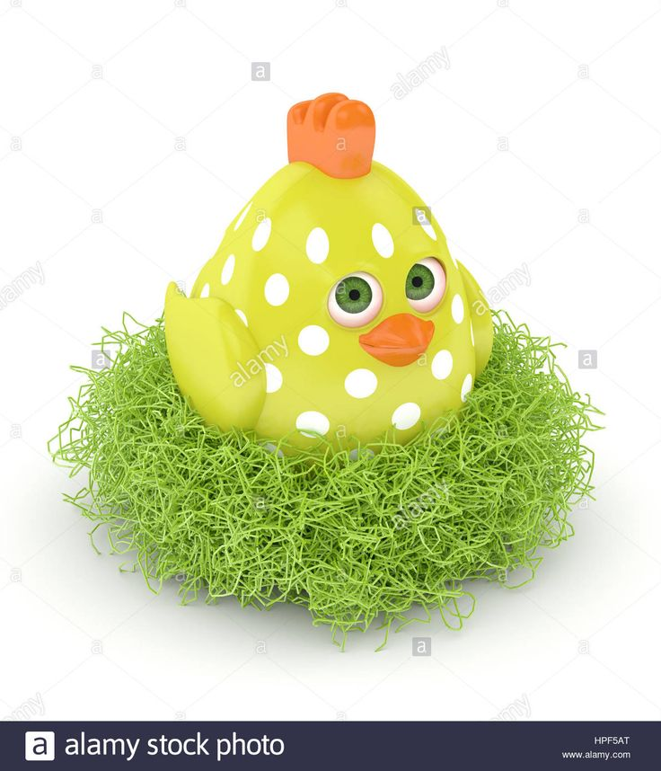 Download this stock image: 3d render of Easter chick in nest isolated on white background - HPF5AT from Alamy's library of millions of high resolution stock photos, illustrations and vectors.