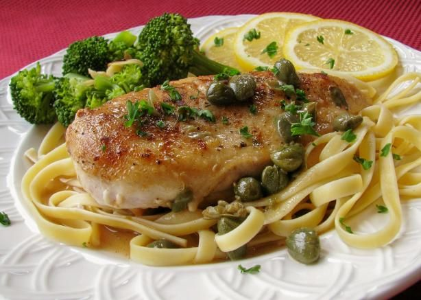 Chicken Piccata. Lemons, capers, and pan-fried breaded chicken - you seriously can't go wrong.