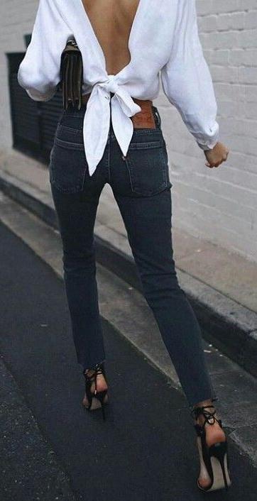 Open back blouse. denim. heeled sandals. street chic.