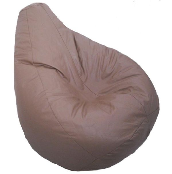 Faux Leather Light Brown Beige Gaming Pear Bean Bag With Filling