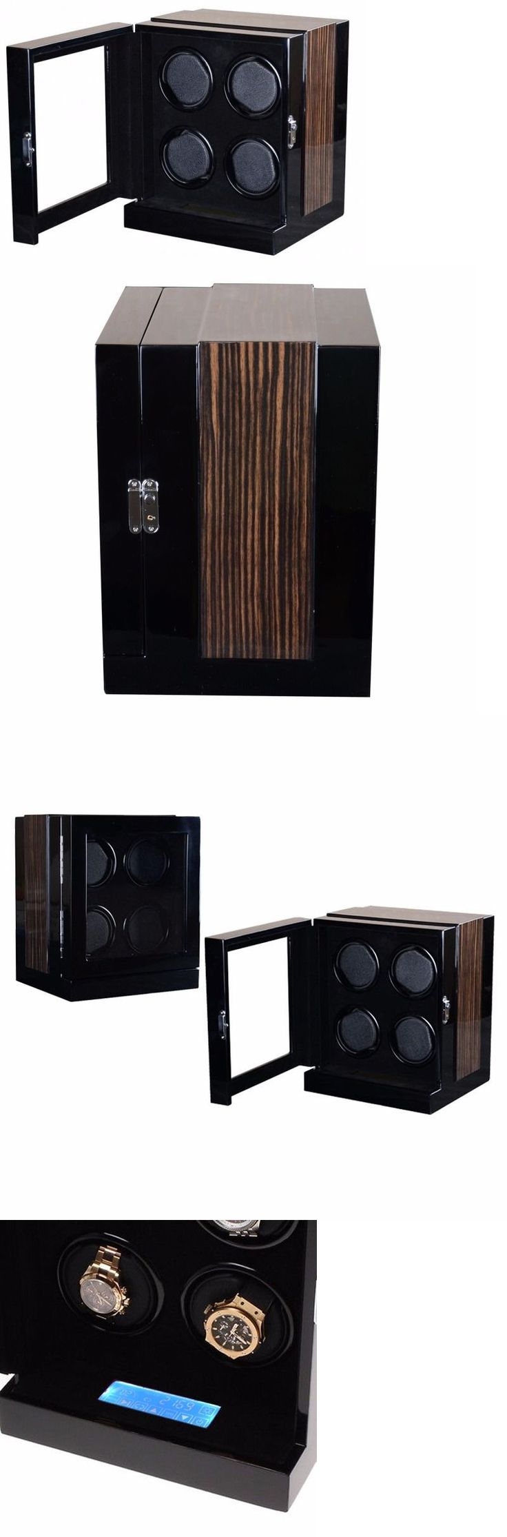 Boxes Cases and Watch Winders 173695: 4 Watch Winder Black Wood Velvet Lcd Touch Digital Led Japan Motor Box 8202 Demo BUY IT NOW ONLY: $249.0