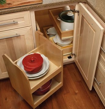 8 Great Solutions For Blind Kitchen Cabinet Corners: Swing Out Cabinet Base Is Like a Smarter Lazy Susan