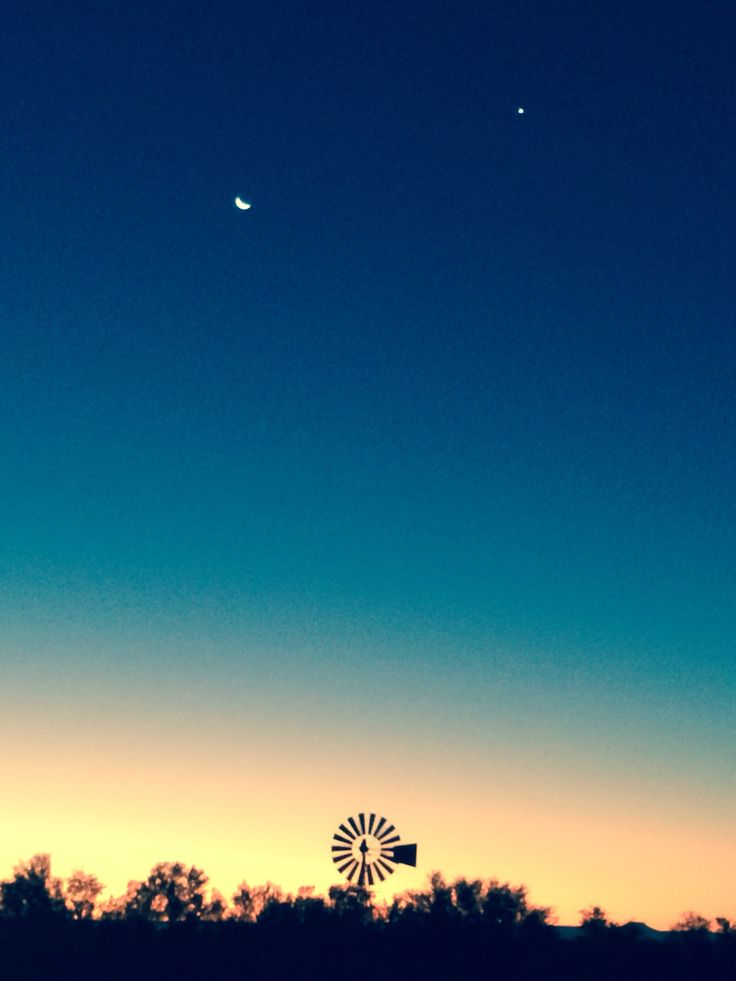 New moon and Venus at sunset in the Karoo, South Africa