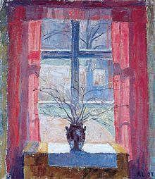 """Alhed Larsen """"Bøgeløv i et vindue"""""""