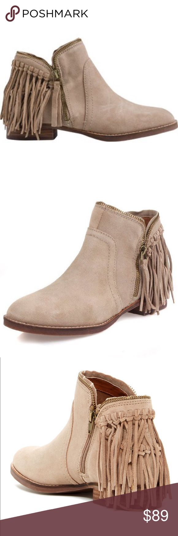 Dolce Vita Taupe Fisher Bootie Flat Bootie with fringe detailing on heel and zip closure. Only worn a few times. Dolce Vita Shoes Ankle Boots & Booties