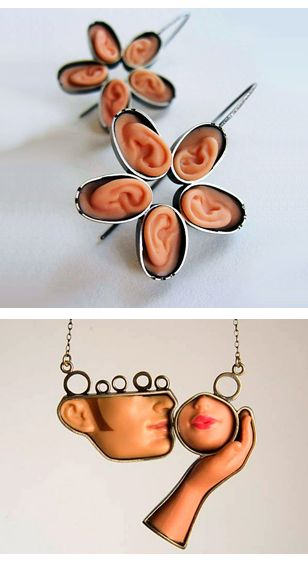 creepy but cool barbie parts made into jewellery!