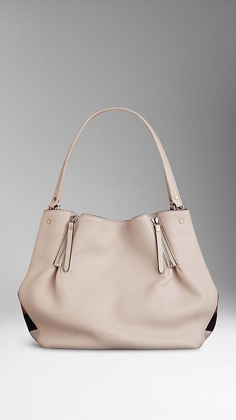 Medium Check Detail Leather Tote Bag from Burberry