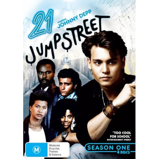 """Depp's first TV role as """"Officer Tom Hanson"""" in """"21 Jump Street"""" (82 episodes, 1987 to 1990)."""