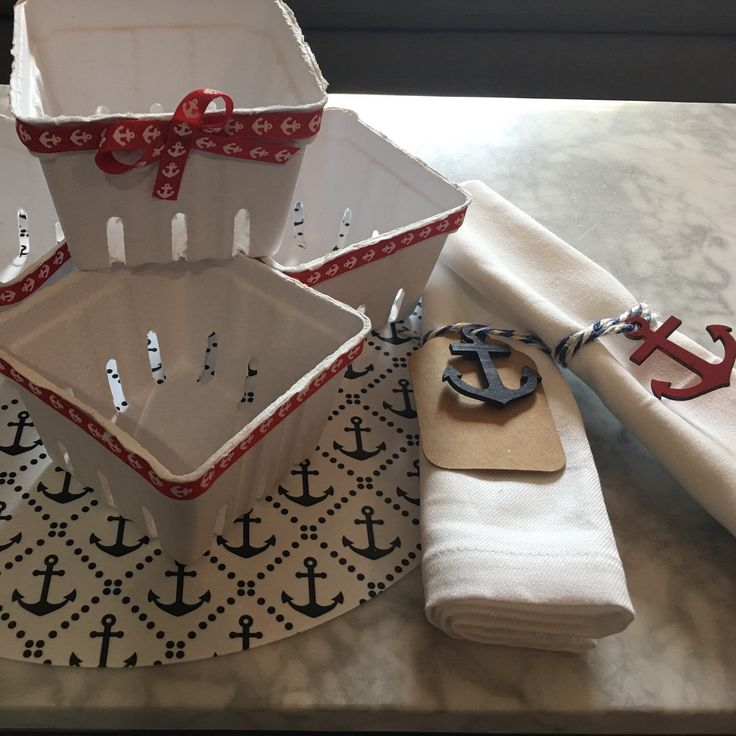Tomorrow on my store Anchor napkin ring plus name tag and small Anchor baskets