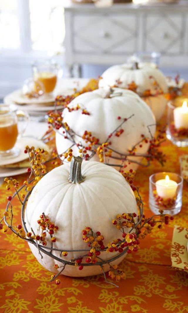 Bittersweet Wrapped Pumpkins for your fall table centerpiece: