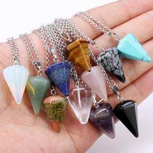 Natural Crystal Healing Chakra Reiki Chakra Pendant Necklace Amethyst Pendulum Stone Bead(China (Mainland))