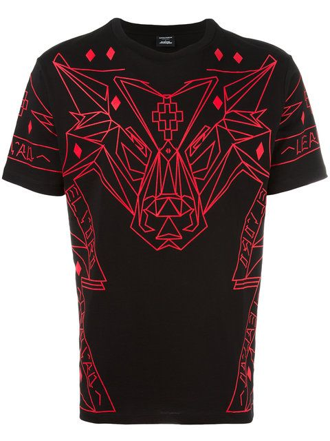 Shop Marcelo Burlon County Of Milan geometric wolf print T-shirt.