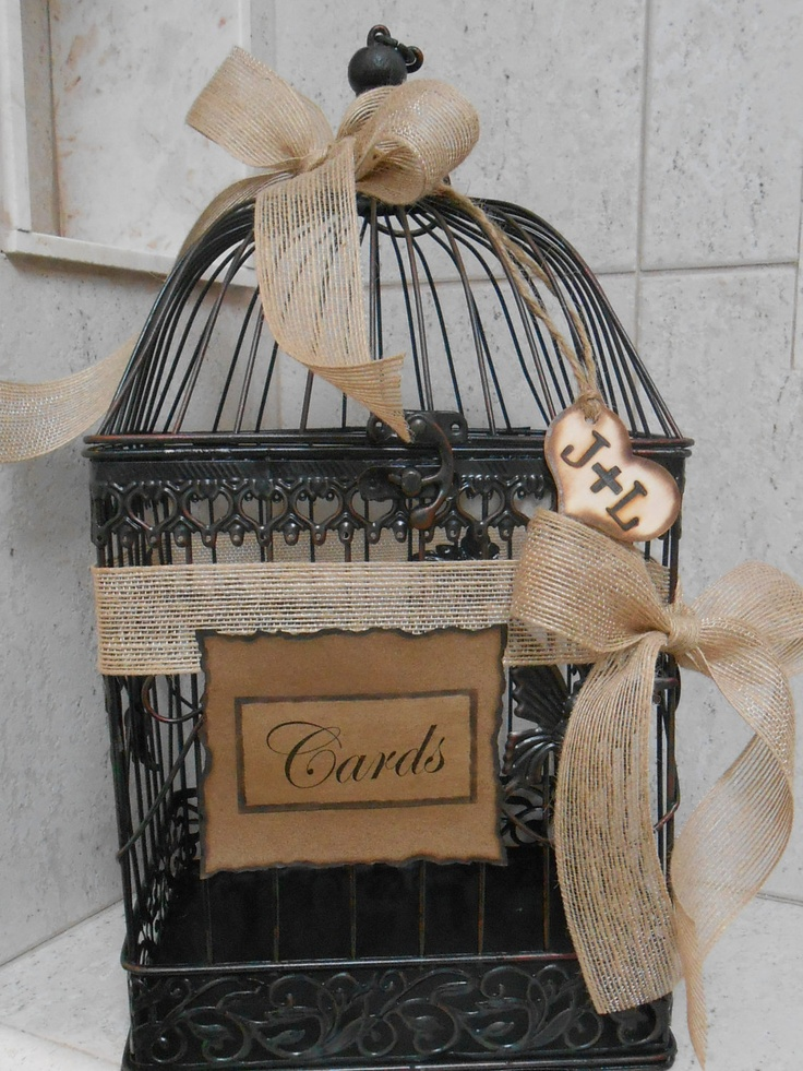Rustic Wedding Birdcage Cardholder for gift table ...can be decorated with ribbons in wedding colors or flowers
