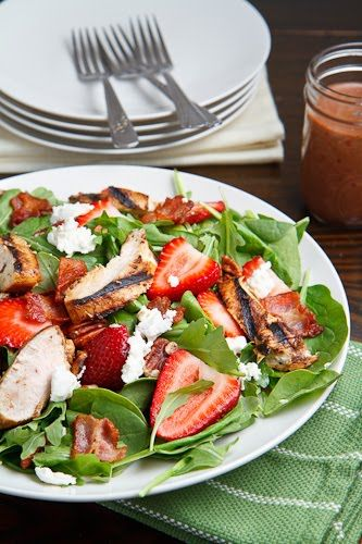 Strawberry and Balsamic Grilled Chicken Salad - A fresh spring strawberry salad with balsamic glazed grilled chicken, bacon, goat cheese and pecans dressed in a roasted strawberry balsamic vinaigrette.