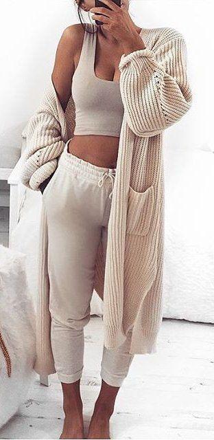 #winter #fashion / Cream Maxi Cardigan & Crop Top & Pants