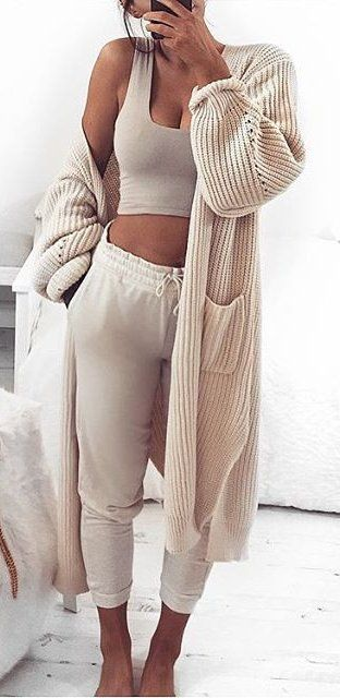 #winter #fashion /  Cream Maxi Cardigan & Crop Top & Pants