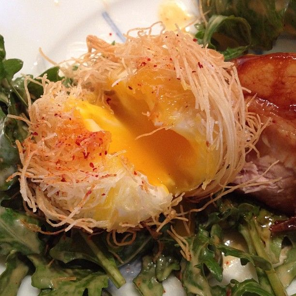 Nested egg with hay smoked bacon