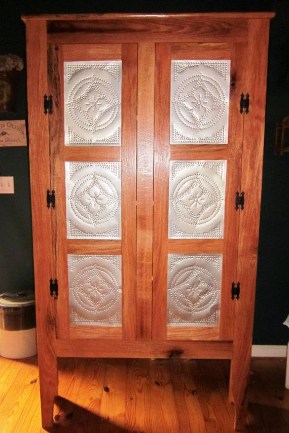Pie Safe Cabinet , Pantry 1900's Style Red Oak with hand punched  tin panels