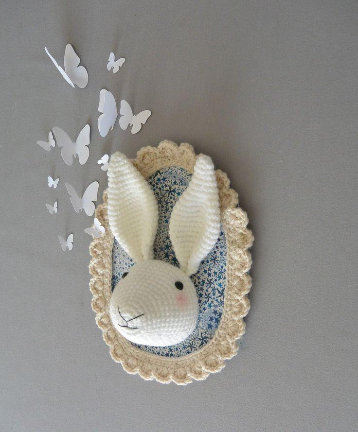 Trophée lapin liberty au crochet : Décorations murales par ligne-retro