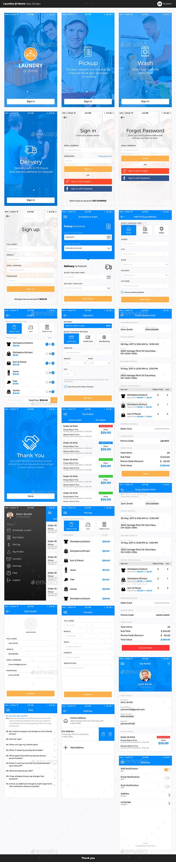 Laundry @ Home App UI Kit - #User Interfaces #Web Elements Download here: https://graphicriver.net/item/laundry-home-app-ui-kit/20042133?ref=alena994