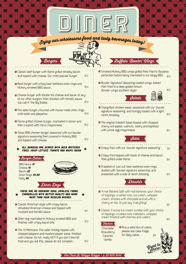 Wagga Bowl U0026 Diner Menu By Allie Baird, Via Behance Más  Free Downloadable Restaurant Menu Templates