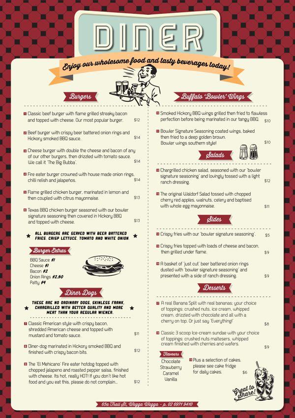 Wagga Bowl & Diner Menu by Allie Baird, via Behance                                                                                                                                                                                 Más