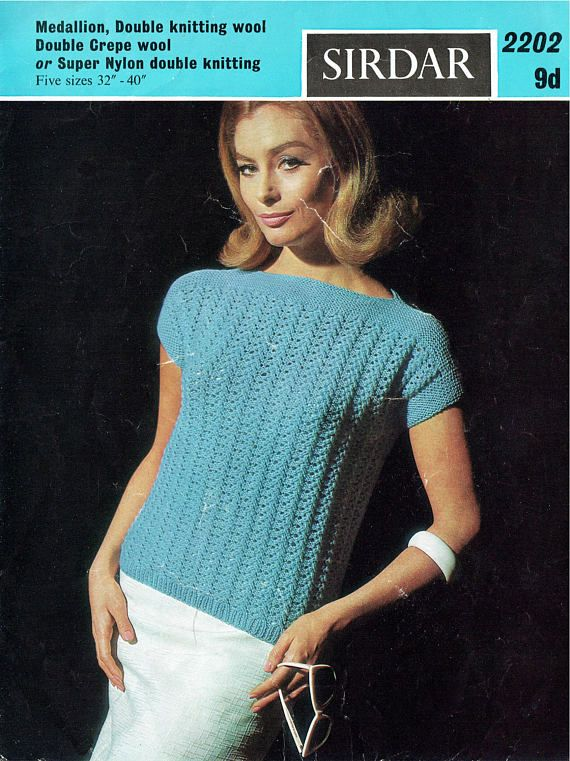 PDF Vintage 1960s Womens Ladies Knitting Pattern Larger Sizes
