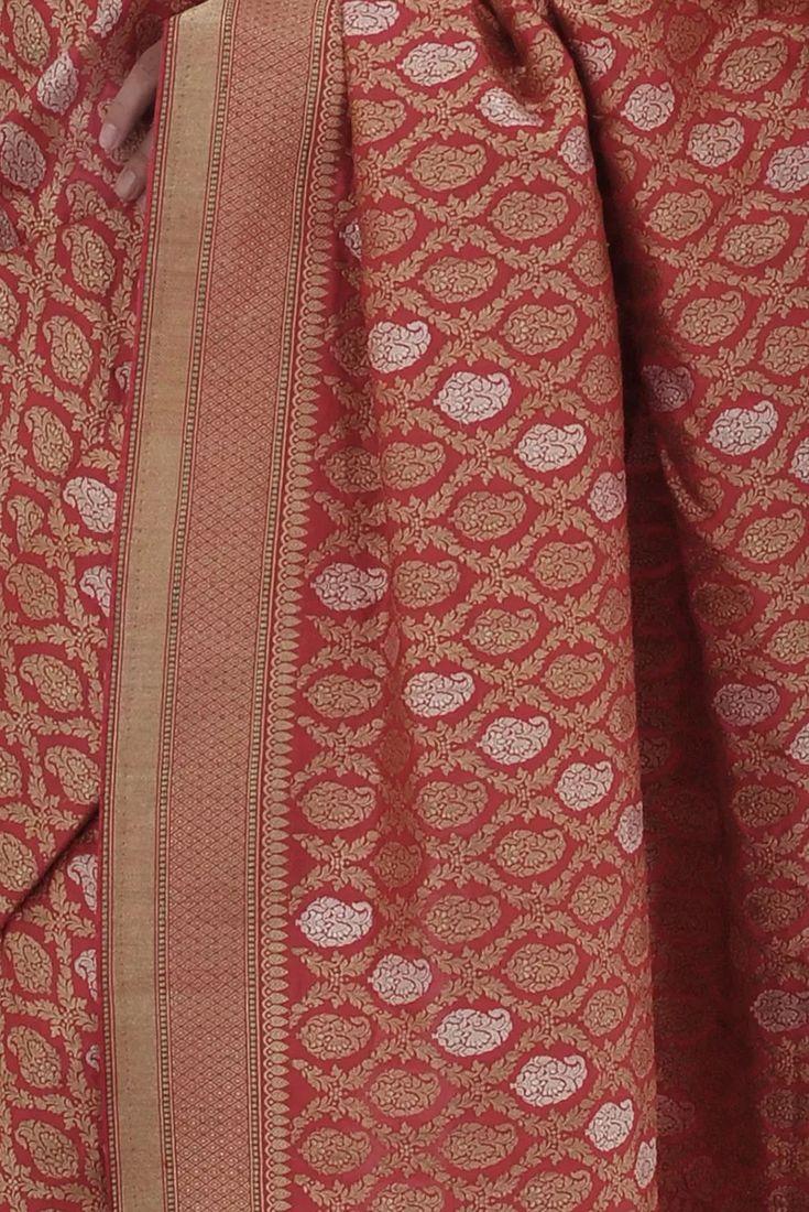 Crimson Red Sona Roopa Banarasi Kadhwa Zari Pure Silk Saree
