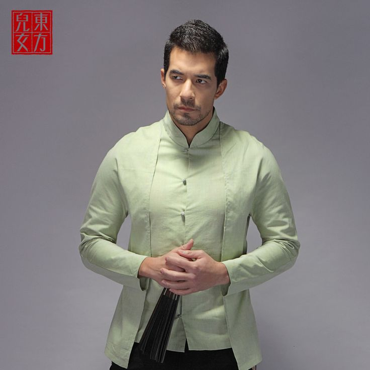 Handsome Frog Button Oriental Style Shirt - Green - Chinese Shirts & Blouses - Men