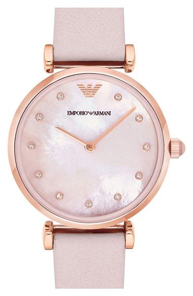 Emporio Armani Leather Strap Watch, 32mm | Nordstrom
