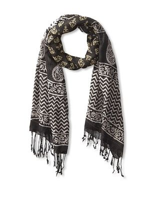 63% OFF MILA Trends Women's Hand Block Print Scarf, Black/Yellow, One Size