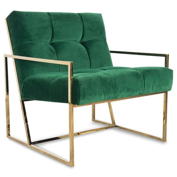 "A slick brass frame, a slight pitched back, and tufted velvet is the Santorini Chair. Perfect on it's own, or pair it up. Shown in green velvet. 31"" x 31"" x 34"" Seat 22""d x 29""w * To inquire about cus"