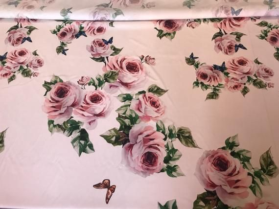 Aquarelle Roses Crepe Stretch Fabric Roses Fabric For Dress