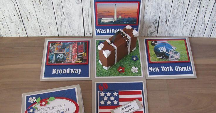 USA Reise Überraschungsbox Explosionsbox Geschenkbox Geschenkgutschein Geldgeschenk Geburtstag Koffer Städtereise Amsterdam Paris Berlin Hamburg New York