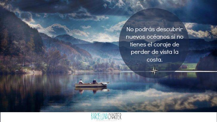 No podrás descubrir nuevos océanos si no tienes el coraje de perder de vista la costa http://www.barcelonacharter.net/  #alquiler #velero #barcelona #navegar #mundo #frasedeldía