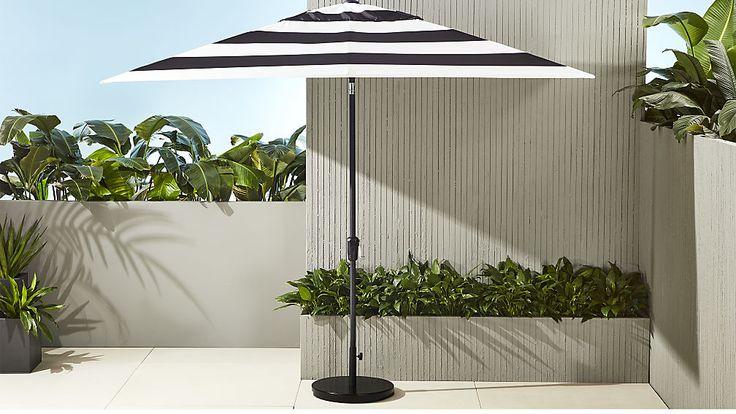 shadow rectangular black and white stripe umbrella with base | CB2