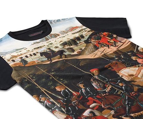 Everybody needs a stock of great t-shirts in their life and their wardrobe, and this season is no exception. Pick up a short sleeved number covered in our rebellious new print. The Triumph of Camillus by 15th century Italian Renaissance painter, Di Antonio captures a post-battle parade with the hero who freed Rome, so it's the perfect print to plaster over our iconic tee.