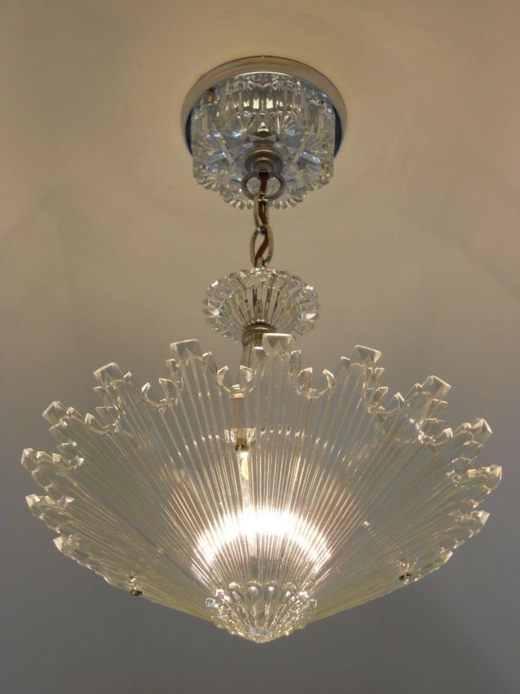 C.30's Vintage Art Deco Ceiling light fixture Chandelier American Antique Lamp | eBay